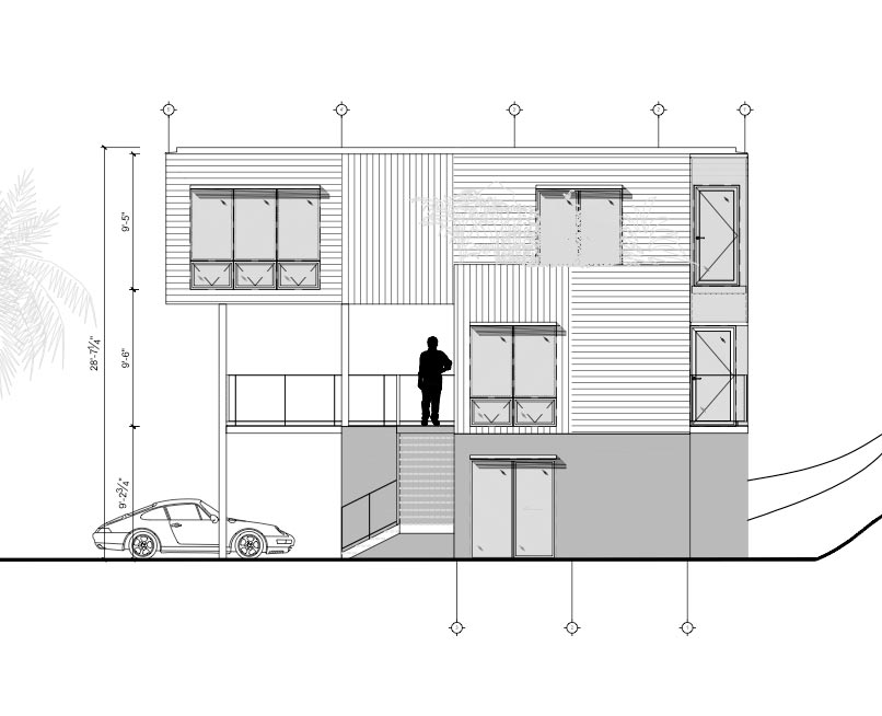 Meka Modular custom design 2440 sq ft. Side elevation